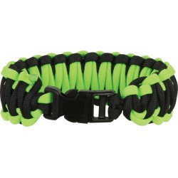 Bracelet Paracorde Noir/Vert neon simple tressage - Large