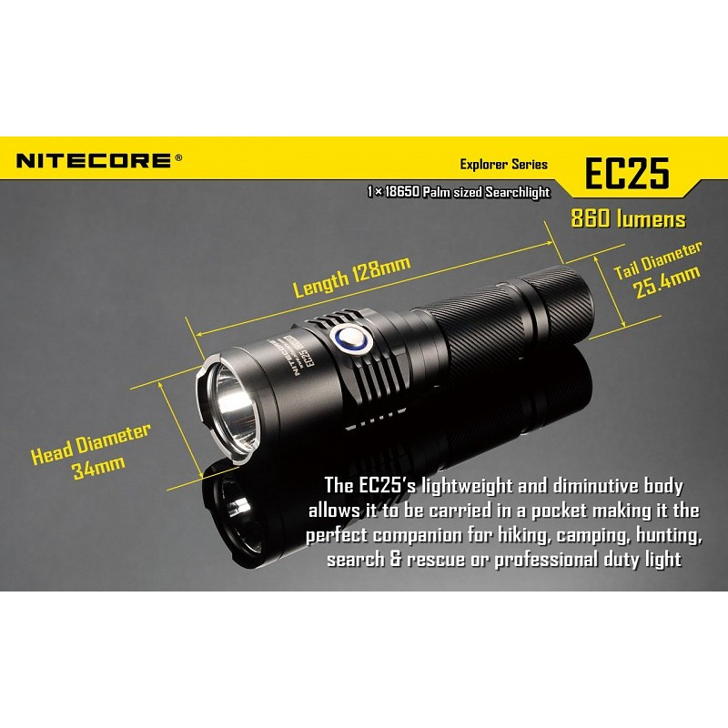lampe torche led nitecore ec25 conditions extremes. Black Bedroom Furniture Sets. Home Design Ideas